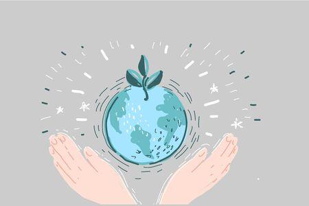 Cartoon illustration of a hands holding earth Stock Illustratie
