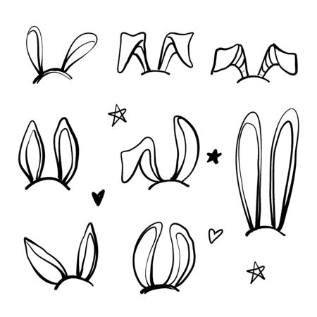 Set of rabbits s ears for decorating. Hand drawn linear isolates elements.  イラスト・ベクター素材