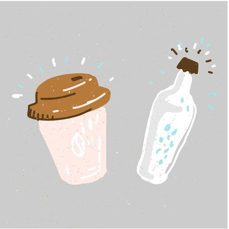 Water bottle and coffee to go cartoon illustration vector