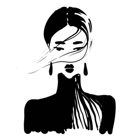 beauty girl face in earrings portrait fashion illustration black and white