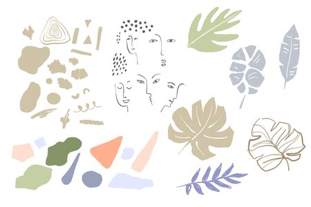 Set of absctract background with tropical elements and girl face in one line style. Portrait minimalistic style. Editable vector illustration