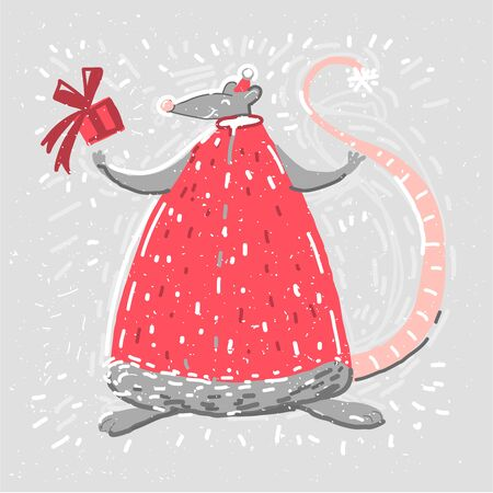 Card with rat in Chritmas clothes smiling. Merry Christmas. Vector illustration in red and blue for Christmas posters, cards, gift box. Stock Illustratie