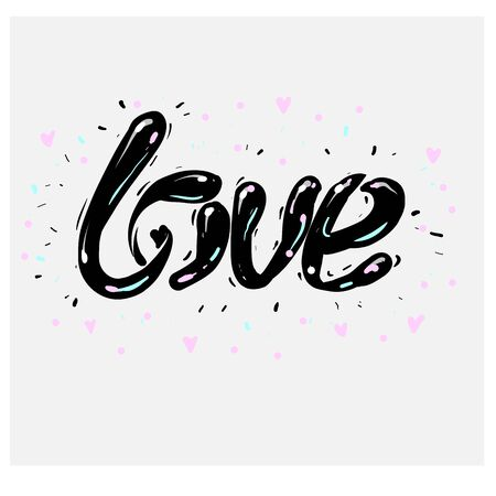 Vector freehand letters love text doodles, valentine s day