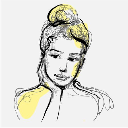 Beautiful woman face thinking hand drawn vector illustration. Stylish original graphics portrait with beautiful young attractive girl model. Fashion, style, beauty. Graphic, messy sketch drawing.