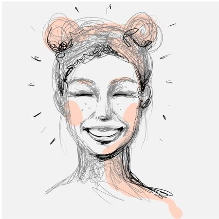 Beautiful woman face laughing hand drawn vector illustration. Stylish original graphics portrait with beautiful young attractive girl model. Fashion, style, beauty. Graphic, messy sketch drawing.