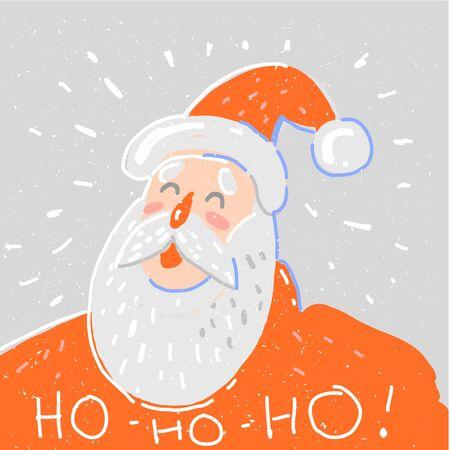 Vector Santa Claus Portrait laugh ho ho ho Christmas card Stock Illustratie
