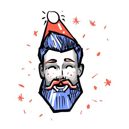 Happy hipster Male New Year Christmas Holiday Red Santa Hat Avatar Portrait