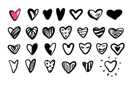 Vector set of simple hand drawn contour line hearts.