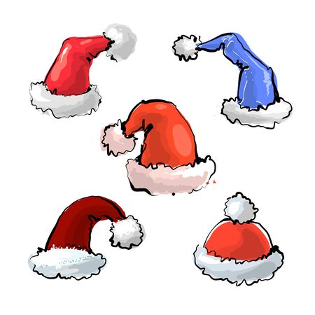 Christmas hats collection - vector illustration.