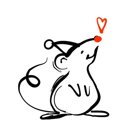 Hand drawn rat in Christmas hats with heart. Doodle vector illustration for greeting card, posters, stickers. Vector animals in trendy line style. Christmas design.