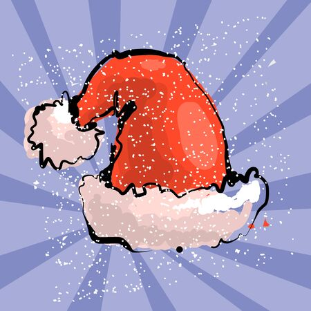Vector illustration of red Santa s hat with blue snow ray background