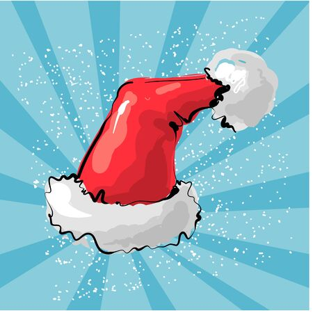 Vector illustration of red Santa s hat with snow ray background.