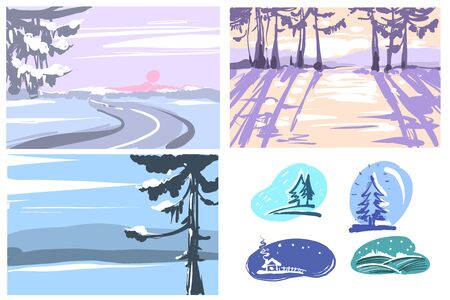Winter hand drawn backgrounds Greeting cards set. Vector winter nature backgrounds Stock Illustratie