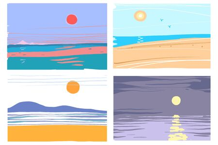 Hand drawn abstract sea landscape collection vector illustration Stock Illustratie