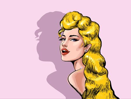 Beautiful attractive Sexy blond woman with open mouth and long hair looking back vector high quality illustration