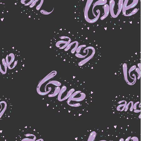 Black and purple hand drawn seamless love pattern, Valentine day design Stock Illustratie