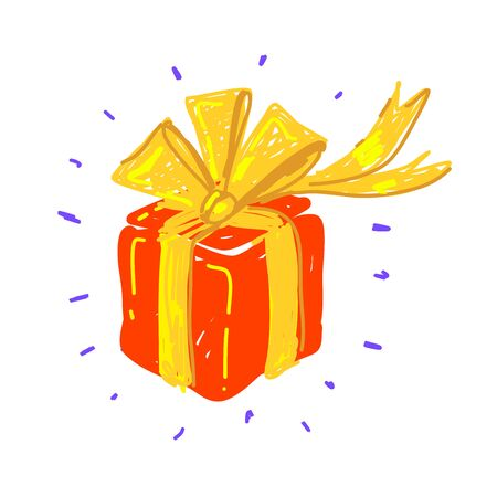 Vector illustration set of shiny red gift box in cartoon style