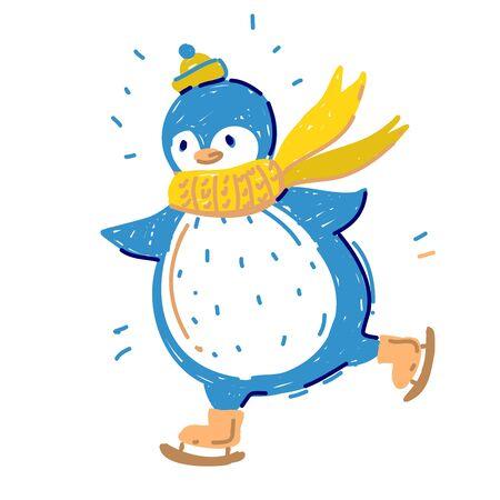 Cute Happy winter Penguin in scarf and winter hat skiing Stock Illustratie