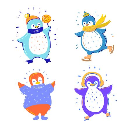 Cute penguins collection with candy, skiing, headphones