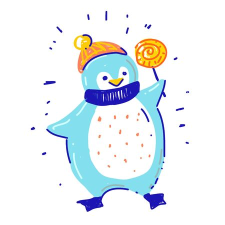 Cute Happy winter Penguin in scarf and hat holding candy