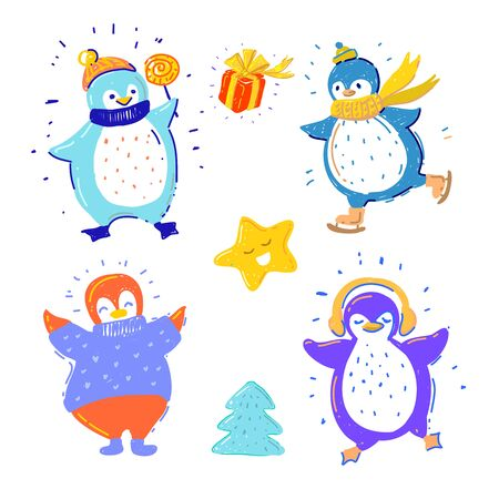 Cute penguins collection with gift box, cute star and Christmas tree Stock Illustratie