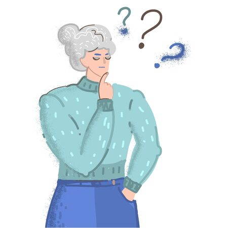 Vector cartoon illustration of old woman face emotions, girl question mark what . Woman character on white background. 矢量图像