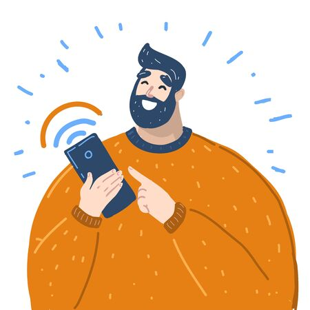 Vector cartoon illustration of man holds smart phone with messenger app, texting messages via messenger using smartphone. Mobile messenger concept Stock Illustratie