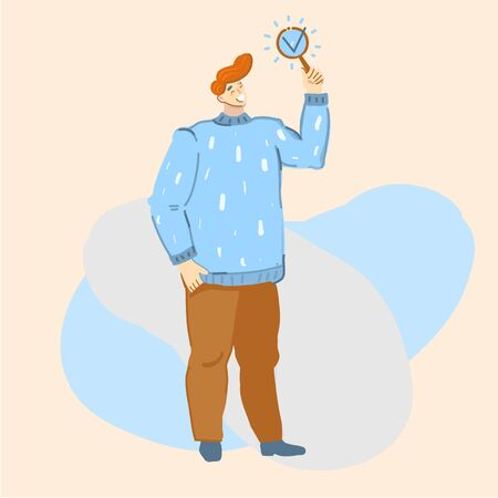 Vector cartoon illustration of man showing done or ready sign. Checklist, check, vote, questionnaire.