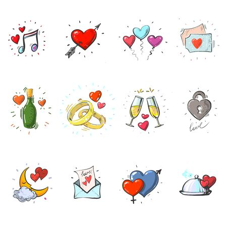 Hand drawn elements, heart, golden rings, glasses of champagne, for Valentines day, wedding, love and romantic events Ilustração