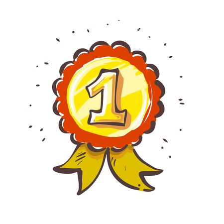 Number One, First place yellow medal ribbon cartoon sketch style vector. Ilustração