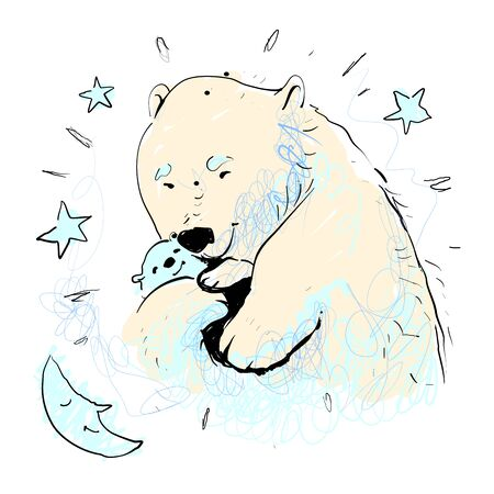 Mother bear hugging her baby vector illustration with stars and moon