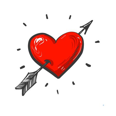 Amour Symbol with Heart and Arrow Icon Ilustracja