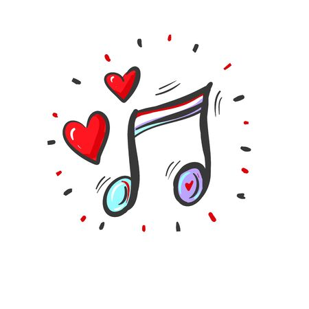 Romantic music vector background with notes and red hearts.
