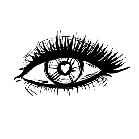 Eye with heart and long lashes black and white illustration vector