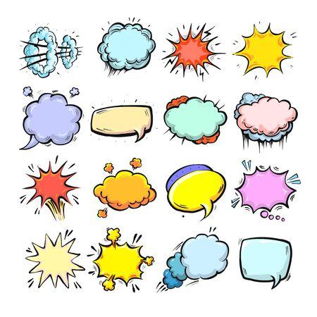 Comic speech bubbles isolated, cute hand drawn cartoon style vector.