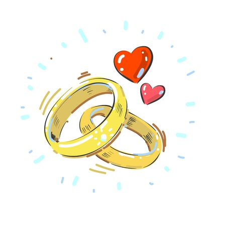 Shining pair of intertwined ladies and mens wedding rings with two hearts.