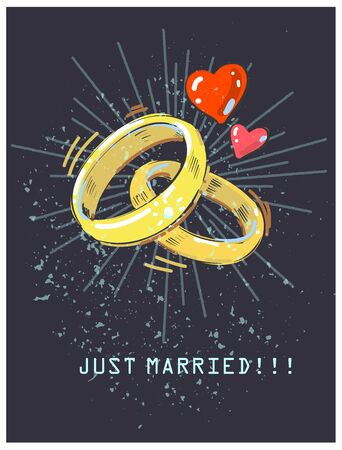 Wedding rings and red hearts shining on dark background. Just married vintage wedding card