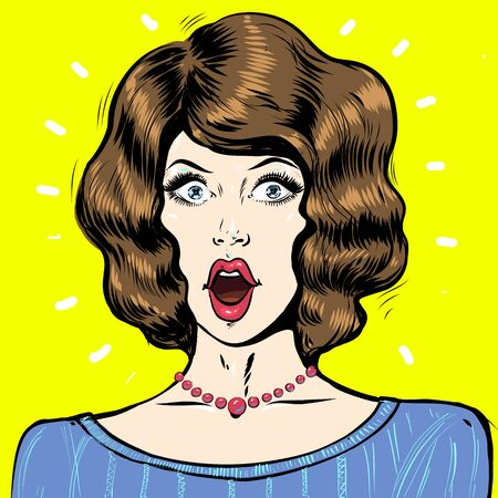 WOW pop art surprised woman face, portrait with open mouth and dark hair