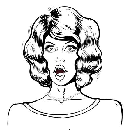 WOW pop art surprised woman face, portrait with open mouth and dark hair black and white line illustration