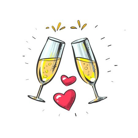 Pair of sparkling champagne glasses with two hearts