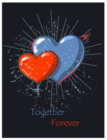Two hearts male and female ,red and blue heart shapes wedding or Valentine day love card on dark grunge background