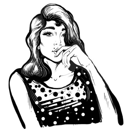 Fancy illustration of a pretty woman thinking, beautiful girl with long lashes black and white line