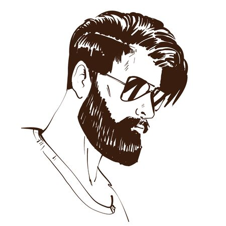 Cool Man portrait with sunglasses and fancy hair style. Fashion sketch 向量圖像