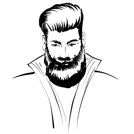 Hand drawn portrait of bearded man full face. Vector sketch black and white 向量圖像