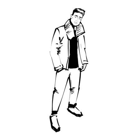 FreeHand Sketch. Handsome stylish man showcasing street fashion