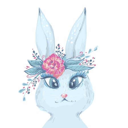 White Rabbit portrait with rose. Watercolor Easter art print. Vector hand drawn illustration in vintage style. Ilustrace