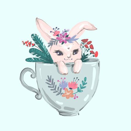 The rabbit sitting in the big cup and cute flower. The rabbit wear flower crown sitting in the big cup. The character of cute bunny Ilustrace