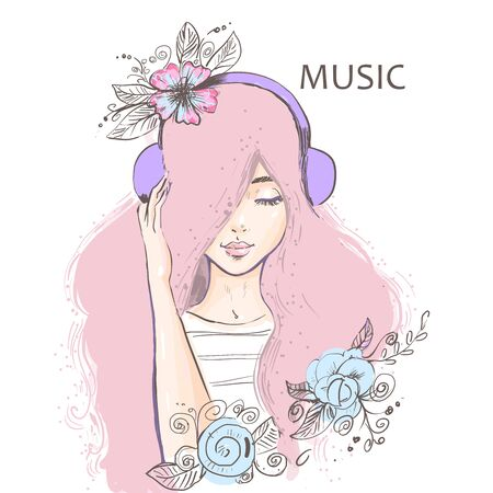 Cute cartoon girl listening to music on headphones. 向量圖像