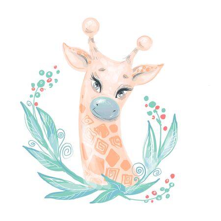 Cute giraffe portrait in leaves for kid fashion prints, nursery design