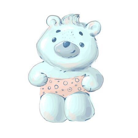 Hand Drawn Cool Polar Bear Vector Illustration